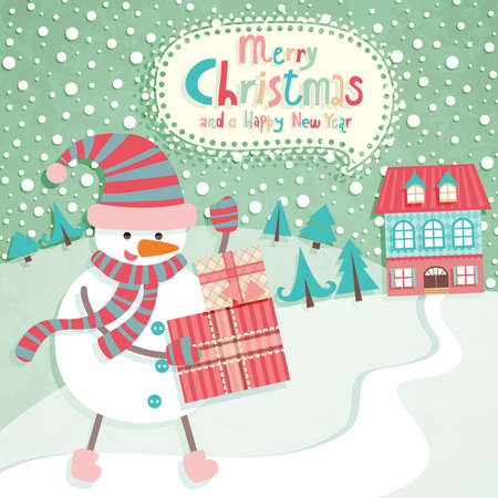 Funny Christmas postcard with Snow Man. Vector illustration. Vector