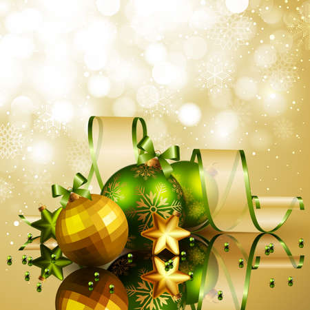 Christmas background with green and golden balls. Vector illustration. Vector