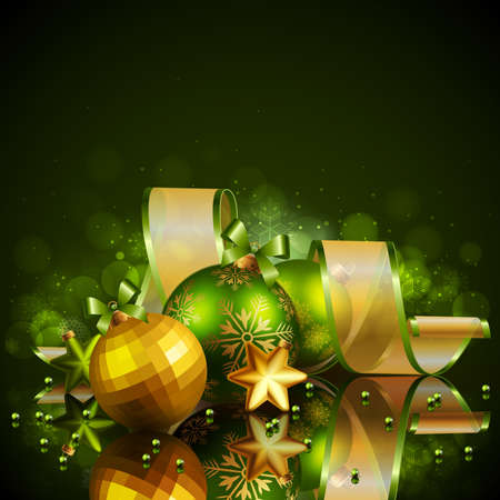 holy place: Christmas background with green and golden balls. Vector illustration.