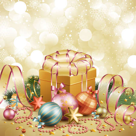 Christmas background with balls and gift box. Vector illustration. Vector