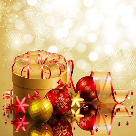 Christmas background with red and golden balls. Vector illustration. Vector