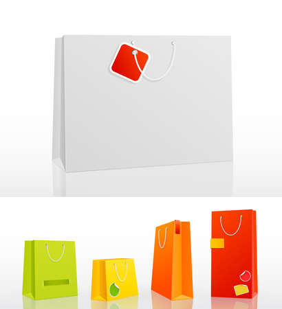 Colorful shopping bag on white background with stickers   illustration  Vector