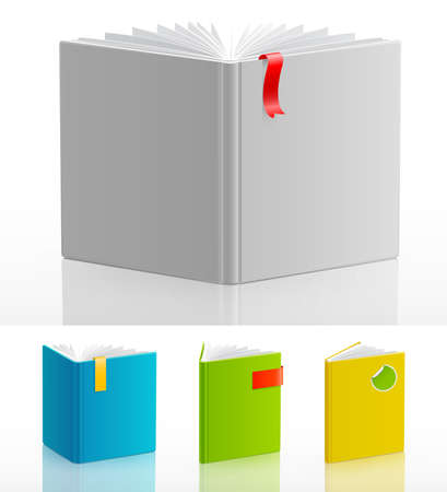 diary page: Set of open standing books   illustration