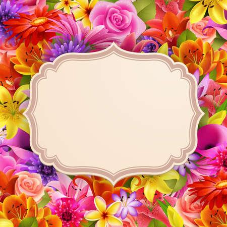 marco cumplea�os: Tarjeta con lugar para el texto de la ilustraci�n de flores de fondo Vectores
