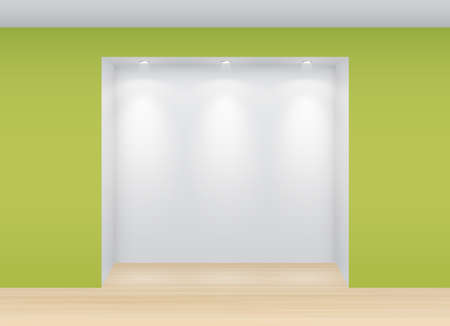 Gallery Interior with empty niche and lights  Vector