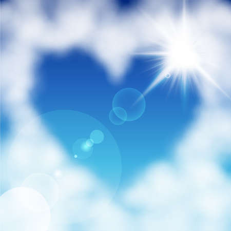 Heart shaped cloud in the blue sky  Valentine s day illustration Vector