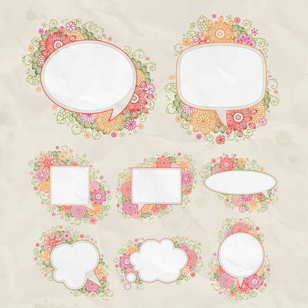 set  hand drawn floral design bubbles Stock Vector - 14678071