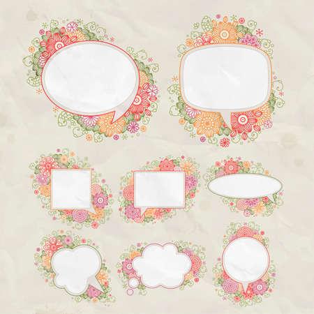 set  hand drawn floral design bubbles  Vector