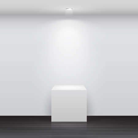 empty stage: 3d Empty white stand for your exhibit   illustration  Illustration