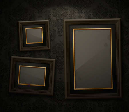 Wooden frames on the wall  Vintage background Vector