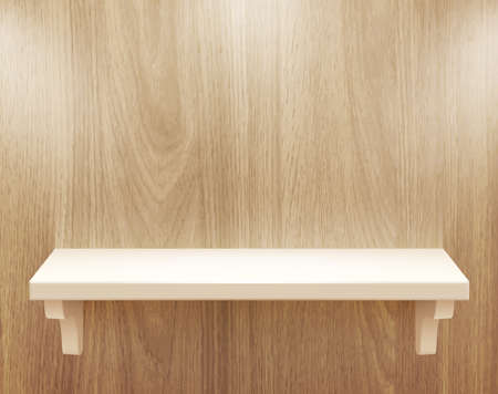3d isolated Empty shelf for exhibit on wood background illustration