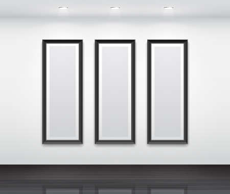 art gallery interior: Gallery Interior with empty black frames for triptych  Illustration