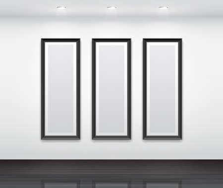 triptico: Gallery Interior with empty frames negros para tríptico