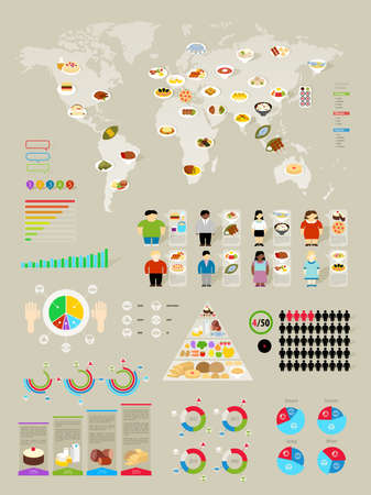Food Infographic set with colorful charts  illustration  Vector