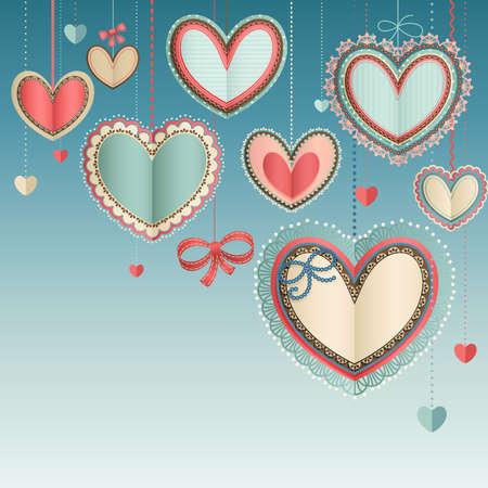 Día de San Valentín s tarjeta vendimia con corazones de papel de encaje en el cielo azul