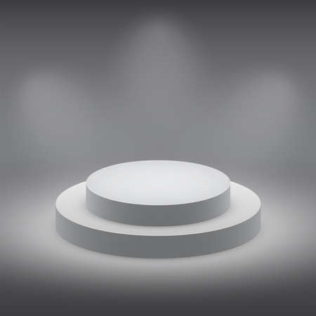 3d isolated Empty white podium on dark background   illustration  Vector