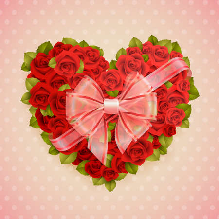 Valentine s Day card with roses heart and place for text  Vector