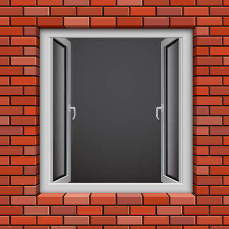 Opened plastic window in red brick wall  Vector illustration  Vector
