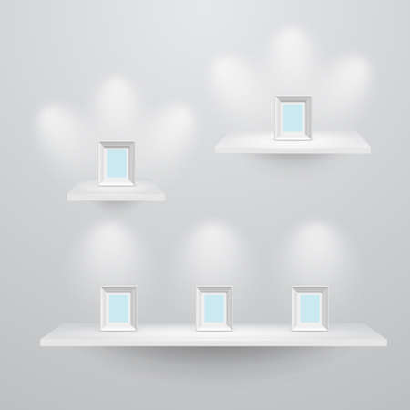 trade show: 3d isolated Empty shelves for exhibit  3 sizes    illustration