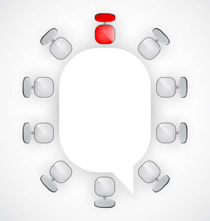 sala de reuniones: Mesa de conferencia con sillas a su alrededor ilustración Vectores
