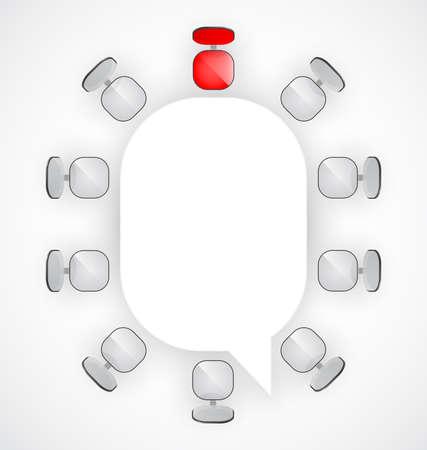 circulaire: Table de conf�rence avec des chaises autour illustration