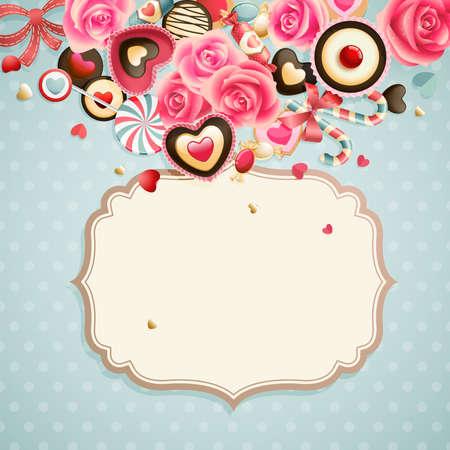 marco cumplea�os: D�a de San Valent�n s tarjeta vendimia con los dulces y el lugar de texto Vectores