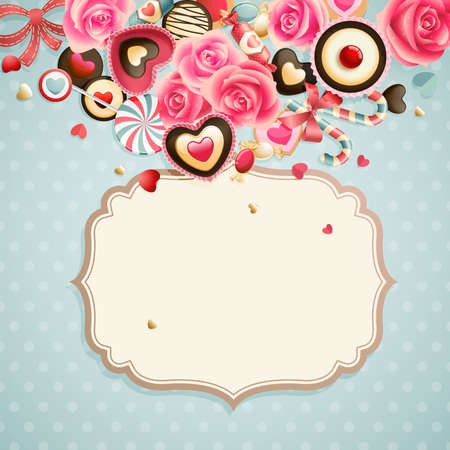 birthday cake: Valentine s Day vintage card with sweets and place for text