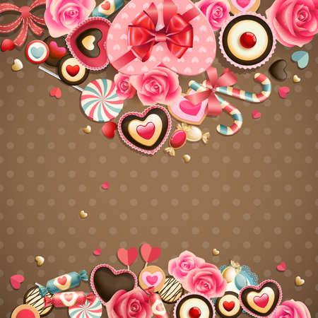 Día de San Valentín s tarjeta vendimia con los dulces y el lugar de texto
