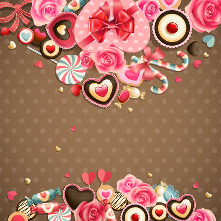 valentine's: Valentine s Day vintage card with sweets and place for text
