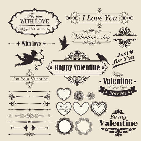 Valentine s Day vintage design elements and letterning  Vector