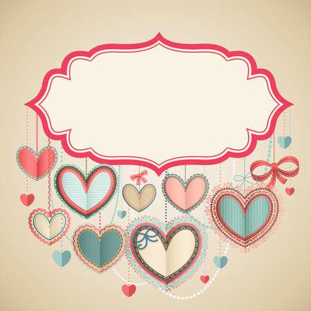 papel scrapbook: D�a de San Valent�n de la tarjeta del s con corazones de papel y el lugar de texto