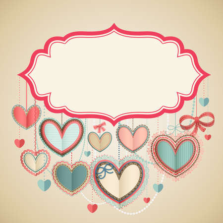 Valentine s Day vintage card with paper hearts and place for text  Vector