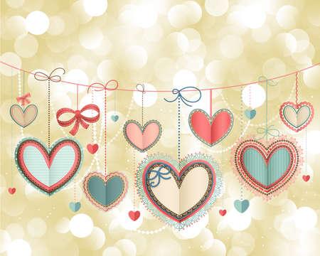Valentine s Day card vintage avec c?urs en papier dentelle et place pour le texte