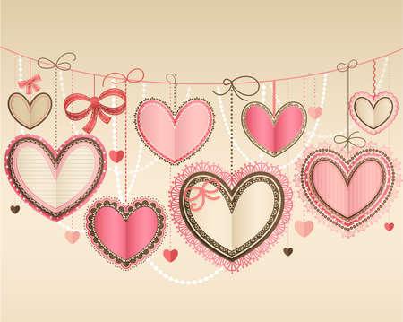 veters: Dag vintage Valentine s kaart met lacy papier harten en plaats voor tekst