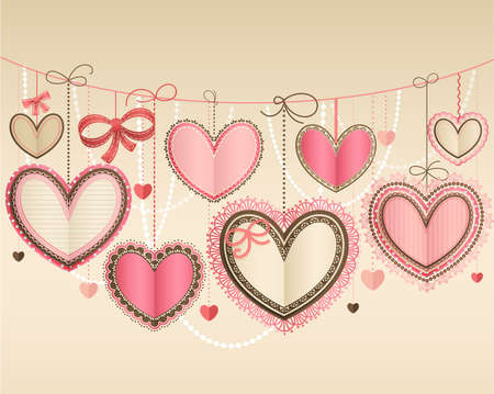 place for text: Valentine s Day vintage card with lacy paper hearts and place for text  Illustration