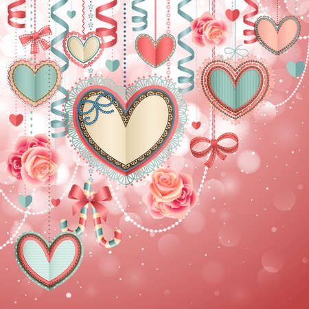 valentine's: Valentine s Day vintage card with paper hearts and place for text