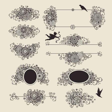 devider: set  hand drawn floral design elements