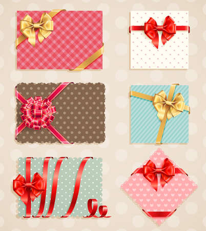 Bows Collection with vintage greeting cards  illustration  Vector