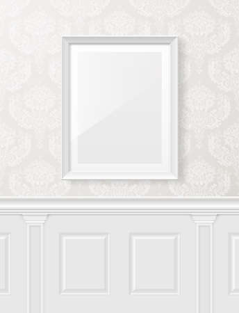 advertising column: White vintage interior with frame on the wall