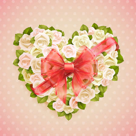 Valentine s Day card with roses heart and place for text  Stock Vector - 14677990