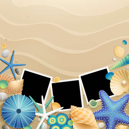 Pictures, shells and starfishes on sand background  illustration Vector