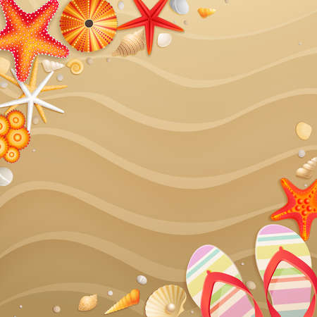 flip flops: Holiday greeting card with shells, starfishes and place for text  Illustration