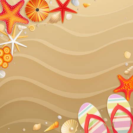 etoile de mer: Location de carte de voeux avec des coquillages, �toiles de mer et le lieu pour le texte