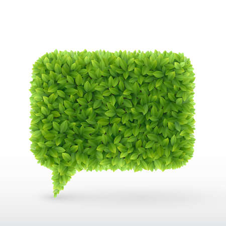art product: Bubble for speech Green leaves  illustration
