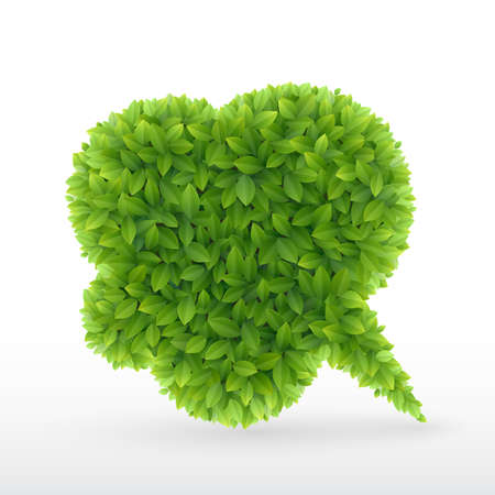 friendly: Eco Friendly Bubble for speech, Green leaves   illustration  Illustration