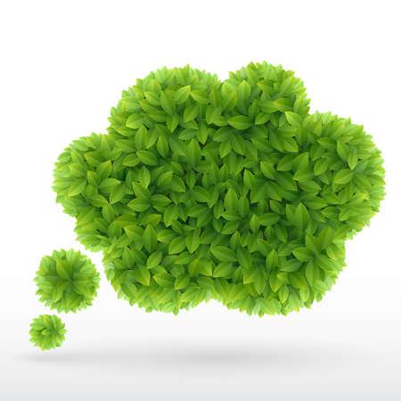Summer Bubble for speech, Green leaves   illustration  Vector