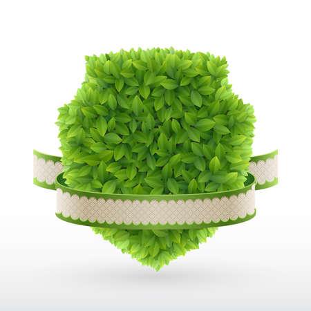 Farm Fresh label Green leaves   illustration  Stock Vector - 14677985