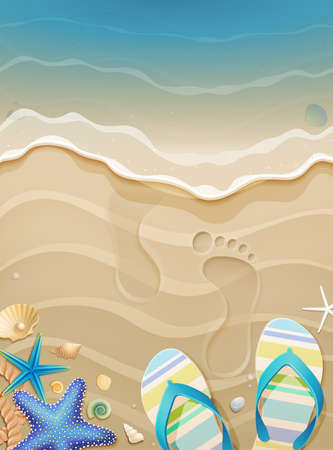 starfish beach: Summer holiday background with footprints in sand.