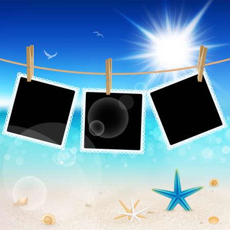 seestern: Aufh�ngen von Bildern auf sch�nen Strandpromenade Hintergrund.