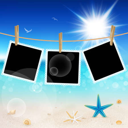 Hanging Pictures on Beautiful seaside background.  Vector
